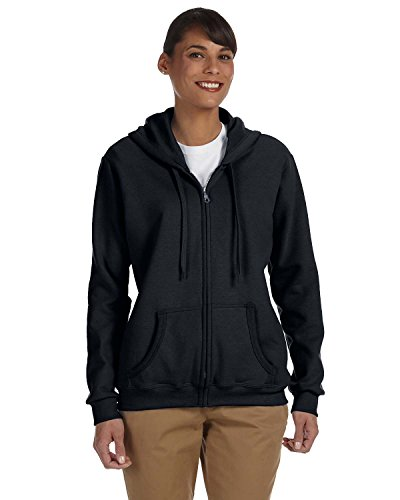 (Gildan Women's Heavy Blend Full-Zip Hooded Sweatshirt, Black, Large)