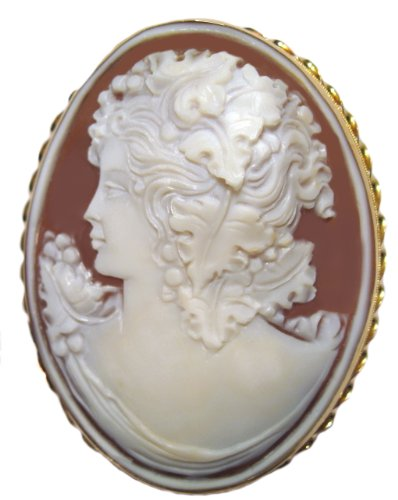 Cameo Brooch and Pendant Master Carved, Autumn Love, Solid 14k Gold Italian
