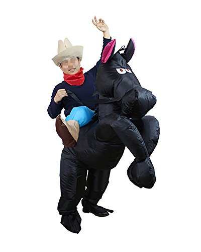Adult Halloween Inflatable Costume Horse Riding Party Cosplay Outfits (Black)