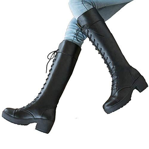 Eu Lata 38 Tacón 36 Rodilla A Zapatos negro Pu Señora De Encaje Larga La Alto Eu Botas Sed wf0Tw