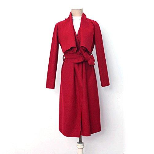 Las Lana Cazadora De Rojo Con Cazadora Señoras Las Capa De Cardigan Outwear Mujeres Parka La Trench De Solapa De De Chaqueta Delgada Internert Larga zwHqSaS