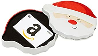 Amazon.com $25 Gift Card in a Santa Smile Tin (Classic White Card Design)