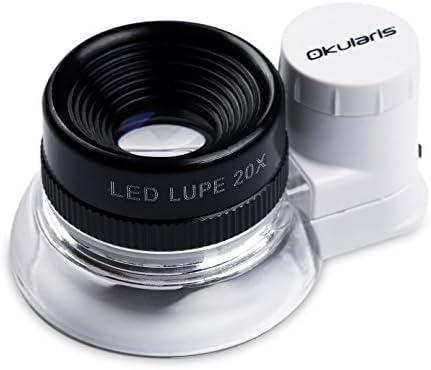 Okularis 20x Loupe Magnifier, Aluminum-encased with LED-Illumination, 15mm Diameter Lens