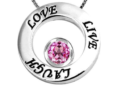 Star K Live/Love/Laugh Circle of Life Pendant Necklace with September Birth Month Round 7mm Created Pink ()