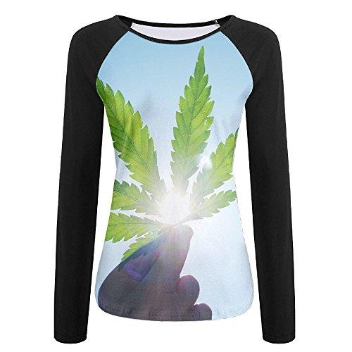 Womens Sunshine Marihuana Comfy Raglan Long Sleeve Tshirts Soft Quick-dry Pullover Sweatshirt For Workout Jogging Hiking Baseball Jersey Tee Shirt