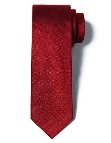 - Origin Ties Men's 100% Silk Solid Herringbone Skinny Tie Burgundy