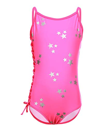 Girls One Piece Swimsuits Hot Silver Stars Bathing Suits Rose Red, Size 6-6X