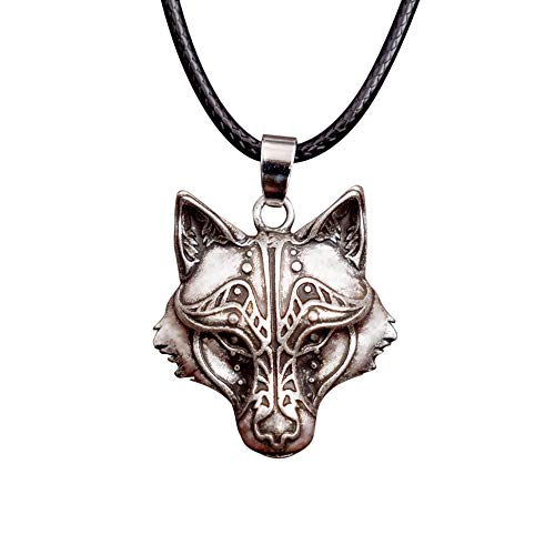 HAQUIL Odin Wolf Necklace Wolf and Raven Winged Pendant Necklace for Men and Women -