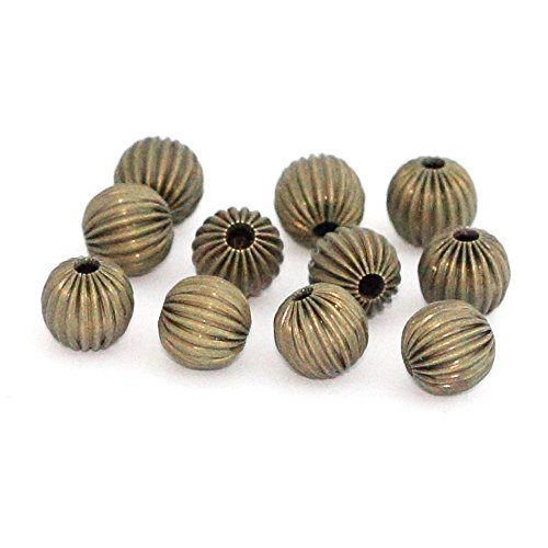 50pcs Beautiful Mellon Spacers 10mm Loose Round Metal Bead Antique Bronze Plated Brass for Jewelry Craft Making CF117-10
