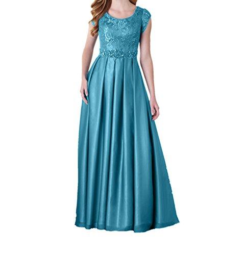Partykleider mit Festlichkleider Blau Spitze Abschlussballkleider Ballkleider Damen Langes Abendkleider Kurzarm Charmant q7wI6Px