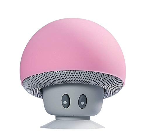 Sudroid Mushroom Mini Wireless Portable Bluetooth 4.1 Speakers with Mic for Smartphones (Pink)