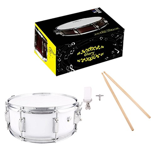 Glory Snare Drum With Sticks, and Strap, for Beginners and Students, Silver Color- Click to Choose More Colors by Glory
