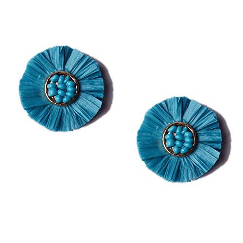 L&N Rainbery Bohemian Handmade Drop Earrings Fashion Beaded Raffia Palm Earrings for Women Tiered Dangle Statement Earrings (1 Layer Teal) (Jewelry Fashion Handmade Beaded)