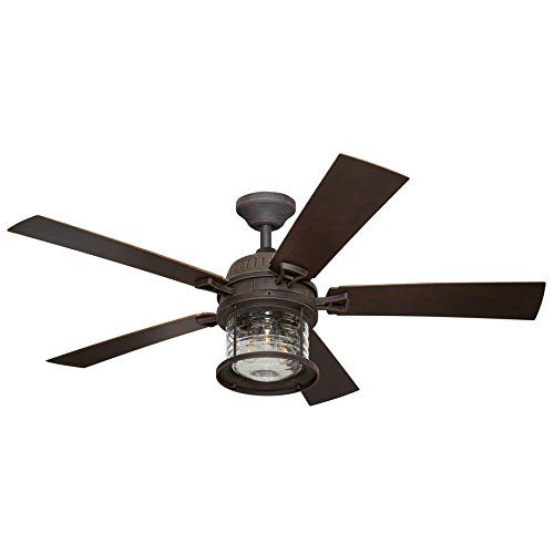 - Allen + Roth Stonecroft 52-in Rust Indoor/Outdoor Downrod Or Close Mount Ceiling Fan with Light Kit and Remote
