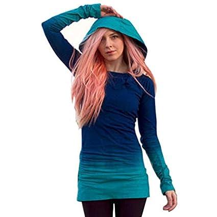 40704b56283 WYTong Hot Sale! Women Novelty Long Sleeve Gradient Color Slim Hoodie  Sweatshirts Pullover Long BlouseTops
