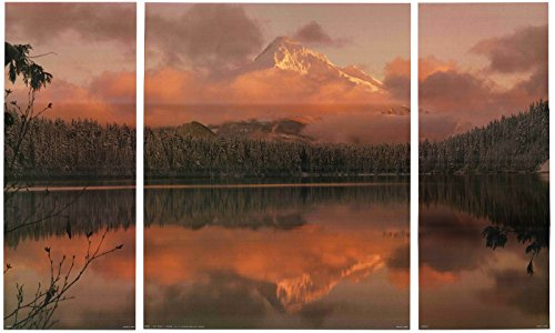 Wall Decor Art Print California State Parks Mountain Lake Tahoe At Sunset Triptych 3panel Poster (32x20) California State Poster Set