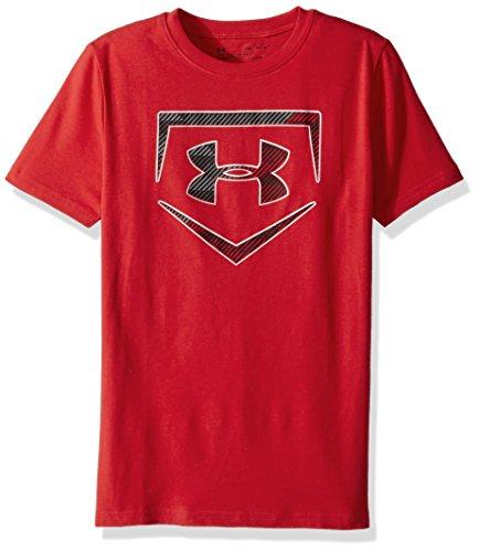 Under Armour Boys' Baseball Logo T-Shirt,Red (600)/Metallic Silver, Youth Small (Under Armour Flash Shirt)