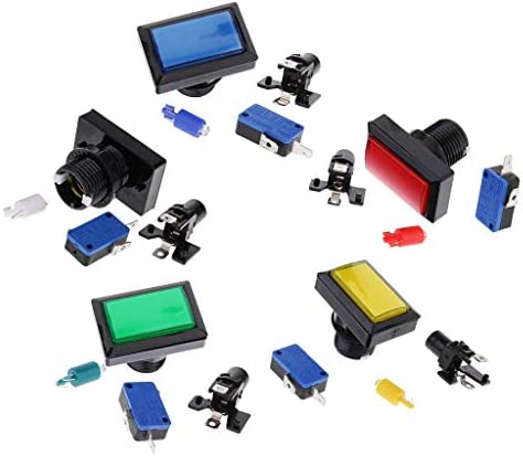 dailymall 5個の長方形のアーケードゲーム機の部品とLEDライト点灯プッシュボタン