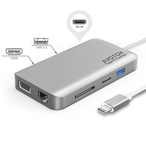 USB-C Digital AV Multi-port Adapter, AVOTCH USB C Hub,3.1 Type C Hub, HDMI VGA Dual screen display Output, Card Reader, 2 USB 3.0 Ports and Gigabit Ethernet Adapter- Grey by AVOTCH