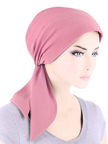 (Chemo Fashion Scarf Easy Tie Turban Hat Headwear for Cancer Rose Pink)