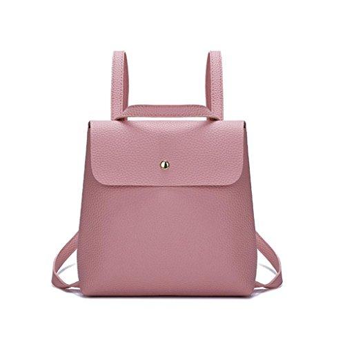 VIASA Fshion Women Girl Pure Fashion Sexy Color Leather Mini School Bag Backpack Shoulder Bag (Pink)