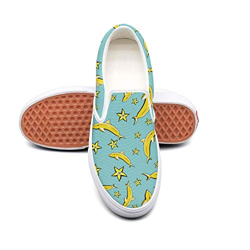 Women's Athleisure Fashion Shoes Dolphin Yellow Banana Comfortable Loafers Slip on Christmas Sneakers