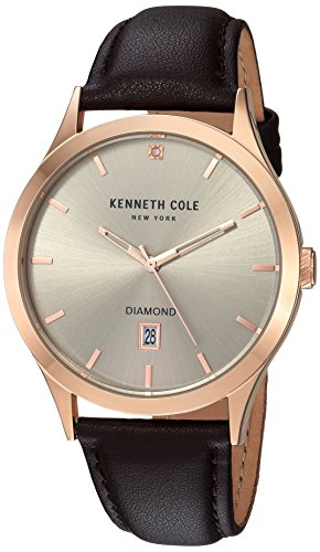 Kenneth Cole New York Men's Quartz Stainless Steel and Leather Casual Watch, Color:Brown (Model: ()