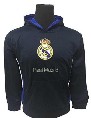 Real Madrid Hoodie, Official Real Madrid FC Navy/Royal Pull Over Hoodie, Hooded Sweatshirt (Youth Meium 7-9 years) (Sweatshirt Team Hoody Official)