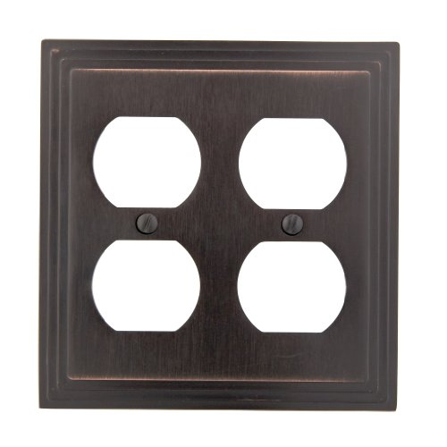 Amerelle Steps Double Duplex Cast Metal Wallplate in Aged Bronze