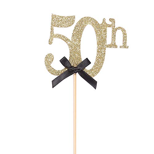 Pack of 10 Gold Glitter 50th Birthday Centerpiece Sticks Number 50 Table Topper Cake Decorations]()