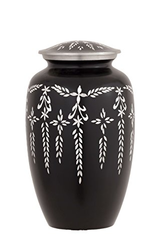 Enshrined Memorials Cremation Urn for Ashes - Nyx Series Affordable Solid Aluminum Metal Quality Handcrafted for Human Funeral Burial Large 10 inch, Rustic Black Diamond Cut