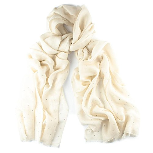 95f36056a4 Cream Swarovski Crystal Scattered Wrap in Cashmere and Silk  Amazon.co.uk   Clothing