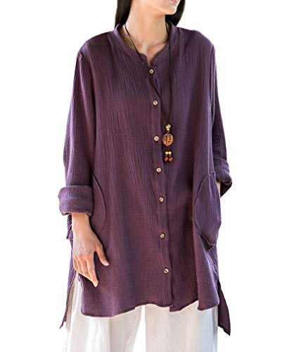 Soojun Women's Loose Fit Button Down Linen Cotton Cardigan Shirts Coat, Purple, X-Large (Flax Linen Jacket)
