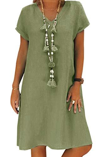 Yidarton Women's V Neck Summer Dress Short Sleeve Casual Midi Dress Chic Vintage Ethnic Sundress Solid Color Loose Linen…