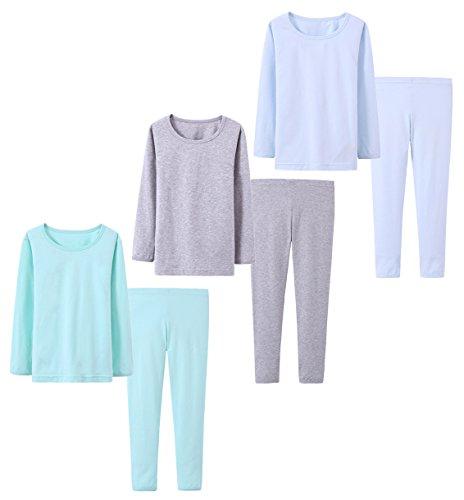 Abalacoco Big Girls Boys 3 Sets (6pcs) Cotton Longs sleeve Undershirts Autumn Winter Thermal Underwear Pants Suit 4-12T (Blue/Grey/Green,-8 Years)