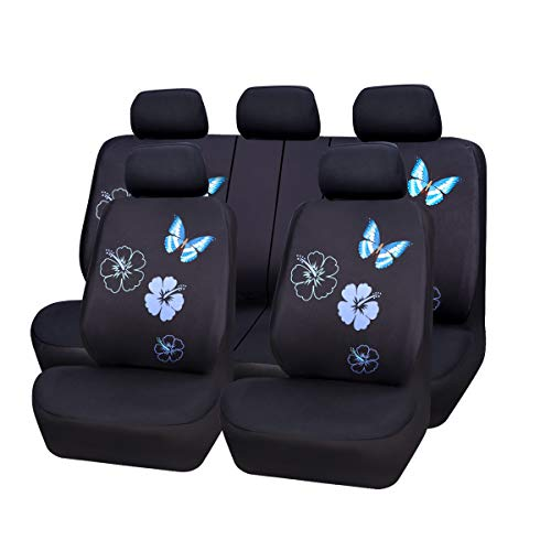 CAR PASS Flower and Butterfly Universal Car Seat Covers, Suvs,sedans,Vehicles,Airbag Compatible (11PCS, Black and Mint Blue) ()
