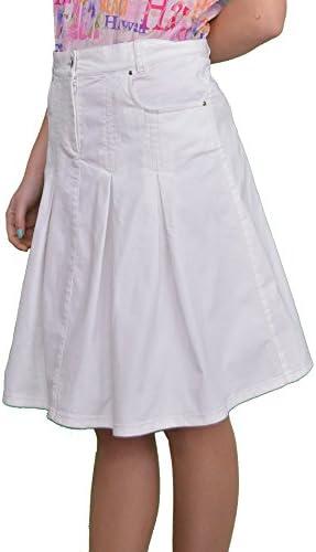 New Ladies Boutique Fashion Knee Length Pleated White Denim Skirt Size UK 8 10 12 14 16 18 20