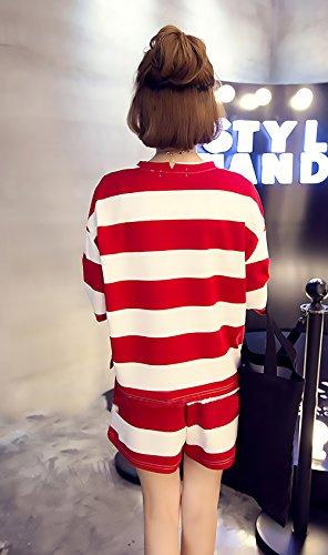 Due Pezzi T Woman Corti Grazioso Women Manica Top Shorts Rosso Giovane Moda Pigiami Shirt Elegante Comfort Donna Homewear Girocollo Estivo Pigiama Corta Casuali Larghi OwvRxWH