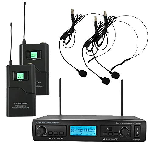 el Professional UHF Wireless Microphone System with 2 Headset Mics/Bodypacks, for Church, Business Meeting, Outdoor Wedding and Karaoke ()