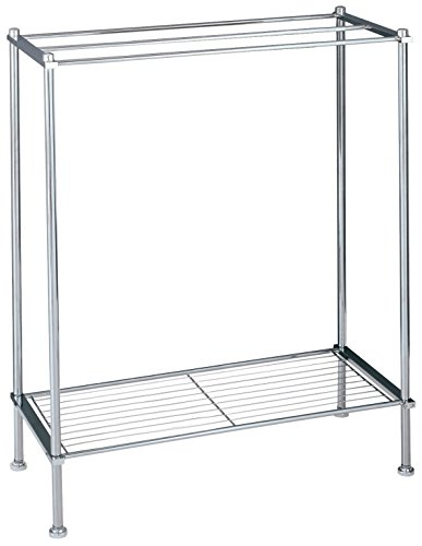Organize It All Freestanding 3 Bar Chrome Bathroom Towel Rack with Bottom Shelf