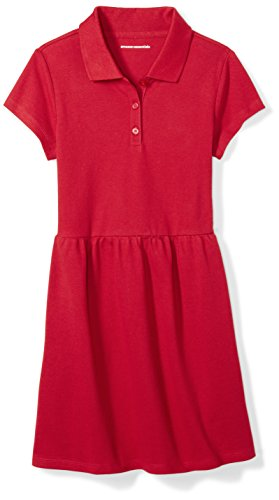 Amazon Essentials Big Girls' Short-Sleeve Polo Dress, Scooter Red, L (10)