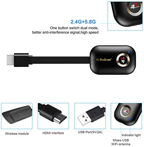 Wireless Display Adapter YEHUA 4k HDMI WiFi Miracast Dongle Screen Mirroring Airplay Cast Phone to TV/Projector Receiver Support Android Mac iOS Windows