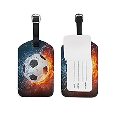 bde2c09c6a on sale Abbylife 1PC Soccer Ball Field Printed Luggage Tag PU Leather  Baggage Tag Travel Bag