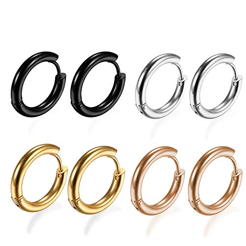 (4Pairs 316L Surgical Stainless Steel Hoop Earrings Hypoallergenic 8mm Small Huggie Earrings Hoop Cartilage Helix Lobes Hinged Sleeper Earrings for Men Women)