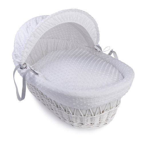 Clair de Lune Dimple White Wicker Moses Basket + Stand (White) (Clair De Lune Moses Basket Stand White)