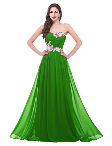 Dress Long TalinaDess E001LF Bridemaid Prom Gown Chiffon Sweetheart Green Applique pxxwFq