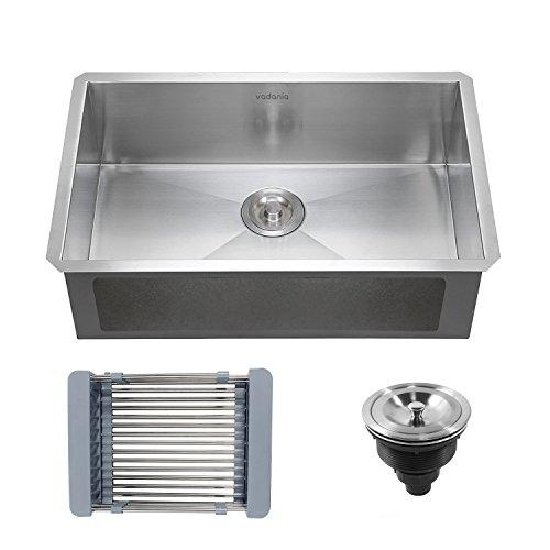 "Two Kit Undermount Installation (VADANIA Stainless Steel Kitchen Sink 23""x18""x10"" Single Bowl Undermount 18 Gauge Satin Finish with Drainer & Adjustable Strainer Basket)"