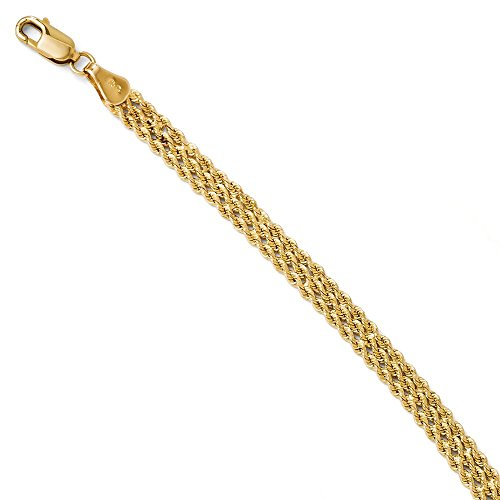 14k Yellow Gold 4.5mm Wide Triple Link Rope Bracelet Chain 8 Inch Fine Jewelry Gifts For Women For Her