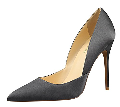 Aisun Womens Simple Low Cut Satin Pointed Toe Dress Slip On Stiletto High Heels Pumps Shoes Gray W5PTxTx