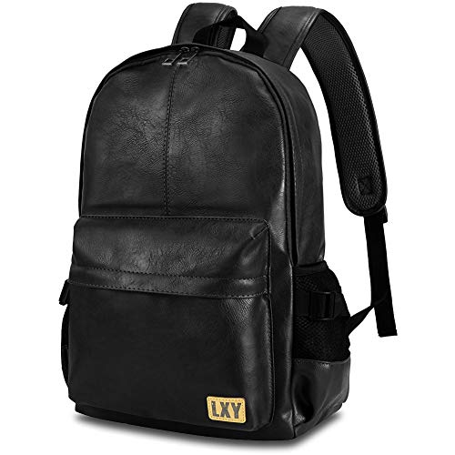 (Vegan Backpack Leather Bookbag for Women Men, LXY Vintage Laptop Backpack Black Faux Leather Backpack Campus School College Bookbag Travel Daypack)
